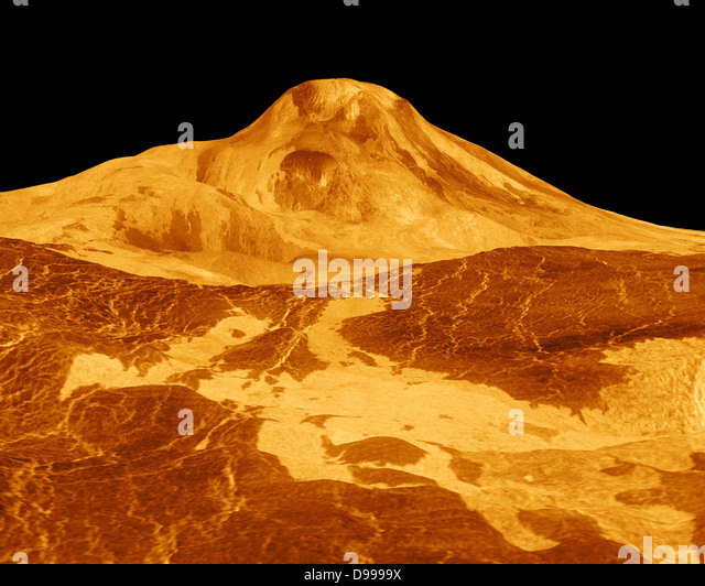 Maat Mons is displayed in this three-dimensional perspective view of the surface of Venus. Magellan. - Stock Image