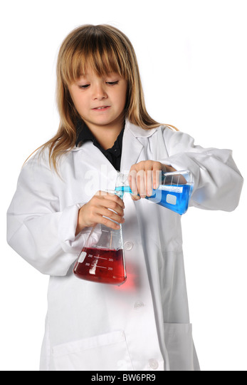 Young scientist mixing chemicals isolated over white background - Stock Image