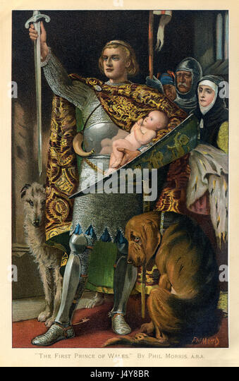 The First Prince of Wales, late Victorian painting of the later Edward II, presented to the Welsh people as an infant - Stock Image
