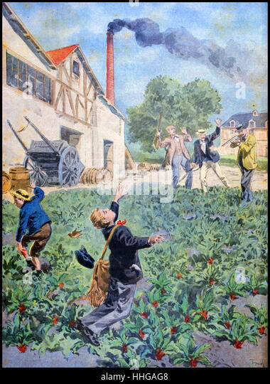 Illustration showing the accidental shooting of a boy during a bird hunt by shooters. (French 1900) - Stock Image