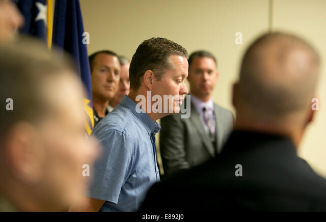 Austin, Texas USA October 1st, 2014: FBI agents along with several officers from the Austin Police Department, hold - Stock Image