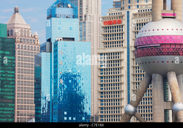 Skyscrapers, Pudong, Shanghai, China - Stock Image