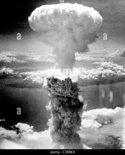 Atomic bombing of Nagasaki on August 9, 1945. - Stock Image
