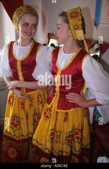 Russia former Soviet Union Petrozavodsk Karelian Folk Drama Theater Kantele Troupe backstage before performance - Stock Image
