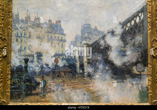 Impressionist painting at the Musee d'Orsay, Paris, France. - Stock Image