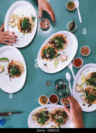 Mexican tacos on the table - Stock Image