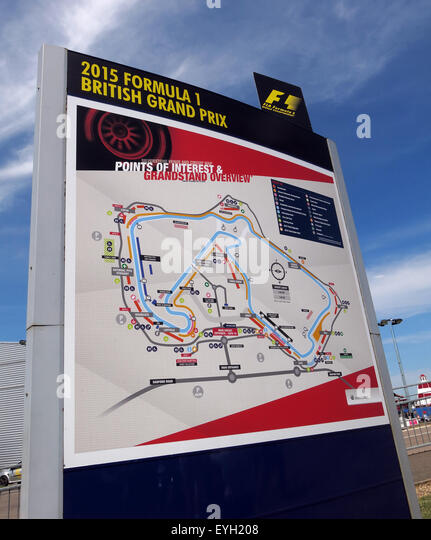 Silverstone F1 British Grand Prix Map of the Circuit, GP England - Stock Image