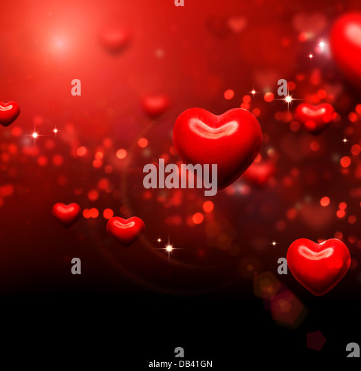 Valentine Hearts Background. Valentines Red Abstract Wallpaper - Stock Image