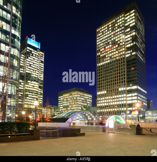 Canary Wharf and Canada Square, entry to underground station and skyscrapers at London's Docklands, London, - Stock Image