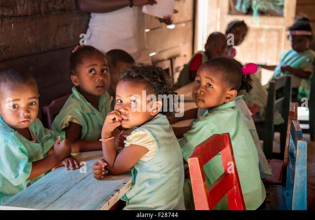 Children in a kindergarten, Morondava, Madagascar - Stock Image
