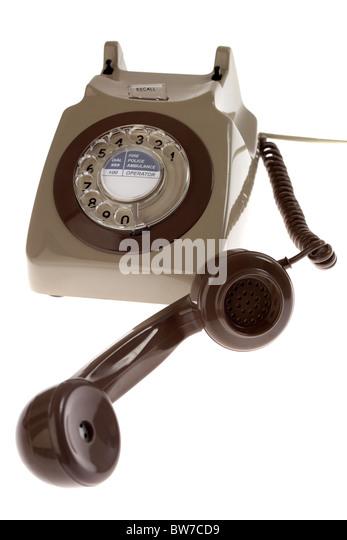 old retro gpo 746 british telecom rotary dial phone - Stock Image