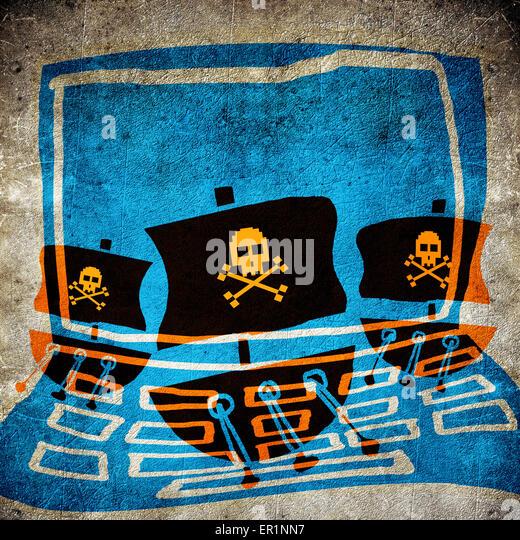 computer pirate concept digital illustration - Stock-Bilder