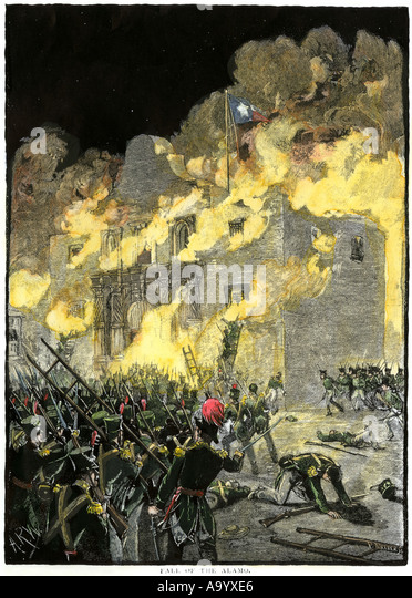 Fall of the Alamo to Santa Anna Mexican forces in San Antonio Texas 1836 - Stock Image