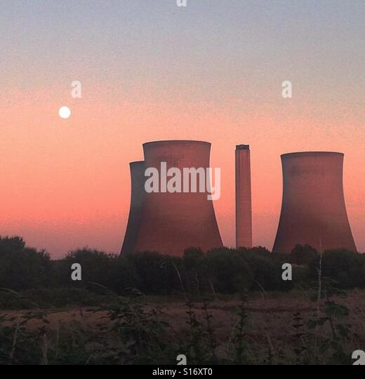 Sunset over Didcot Power station, England. - Stock-Bilder