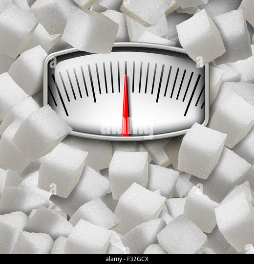 Eating sugar concept as a weight scale made from refined sugary cubes as a dieting fitness and nutrition symbol - Stock-Bilder