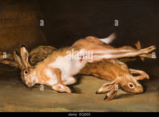 19th century  -  Still Life with Died Harres, 1820 - Goya Philippe Sauvan-Magnet / Active Museum - Stock Image