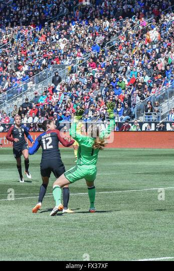 Christen Press scores the first, and game winning goal, in an international soccer / football friendly - United - Stock-Bilder