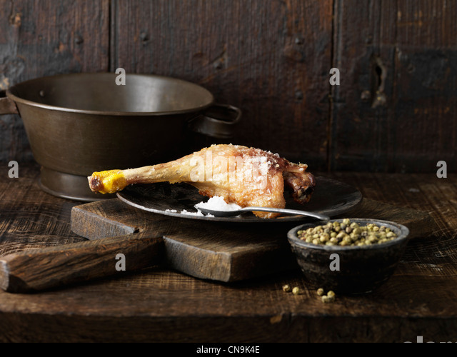Duck rillette Leg with green peppercorns - Stock Image