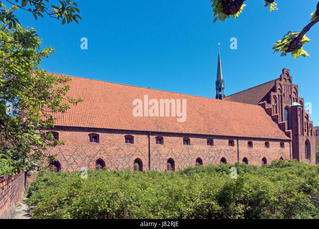 The old Carmelite Monastery, Our Lady Monastery, and Sct. Mariae Church, the Church of St. Mary in Elsinore / Helsingør, - Stock Image