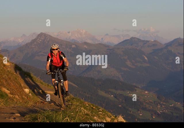 Mountainbiker at Hohe Salve mountain, Tyrol, Austria, Europe - Stock Image