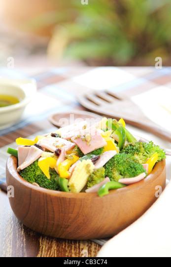 Broccoli and Ham salad - Stock Image