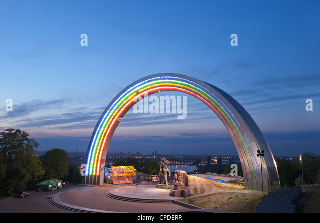 Rainbow Arch, Friendship of Nations Monument, Kiev, Ukraine, Europe - Stock Image