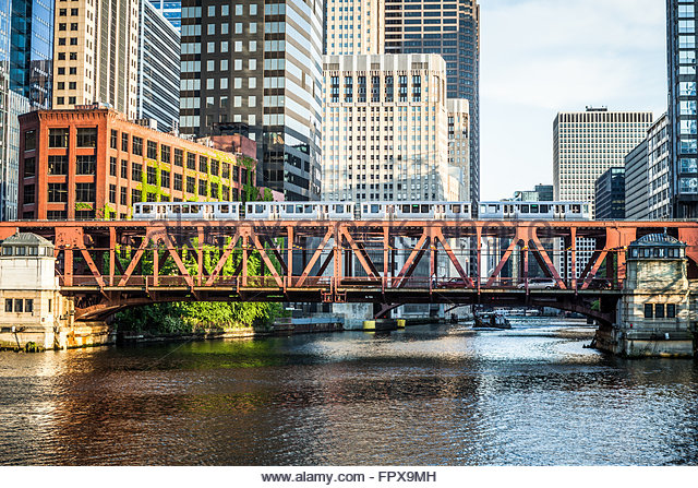 Chicago Lake Street Bridge and an elevated L train over the Chicago River in downtown Chicago. - Stock Image
