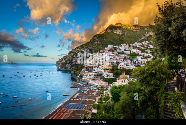 Positano is a village and comune on the Amalfi Coast (Costiera Amalfitana), in Campania, Italy - Stock Image