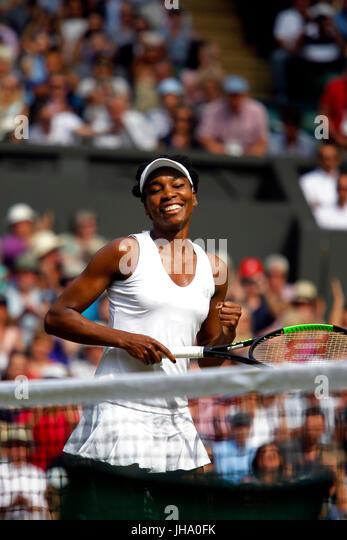 London, UK. 13th July, 2017. Wimbledon Tennis: London, 13 July, 2017 - Venus Williams celebrates her semi final - Stock Image