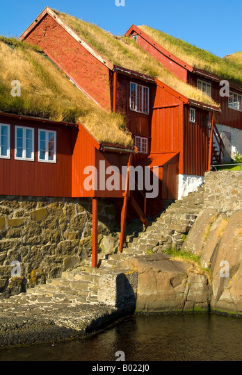 Wooden buildings in the old town of Tinganes, Torshavn, Faroe Islands - Stock Image