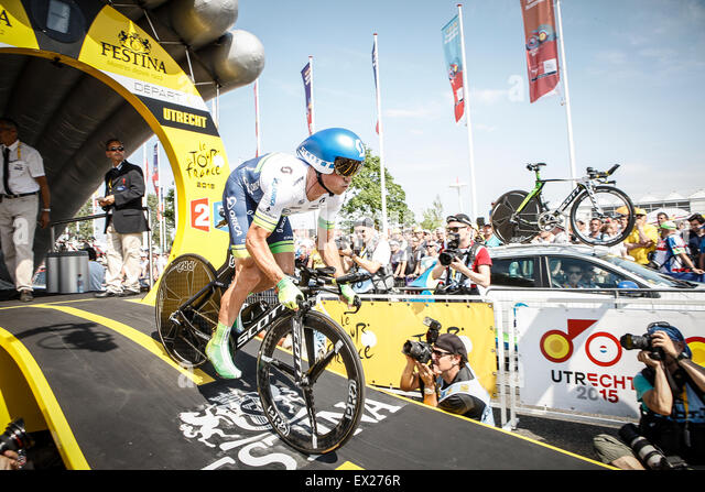 Utrecht, The Netherlands. 4th of July, 2015. Tour de France Time Trial Stage, SIMON GERRANS, Team Orica Green EDGE - Stock-Bilder