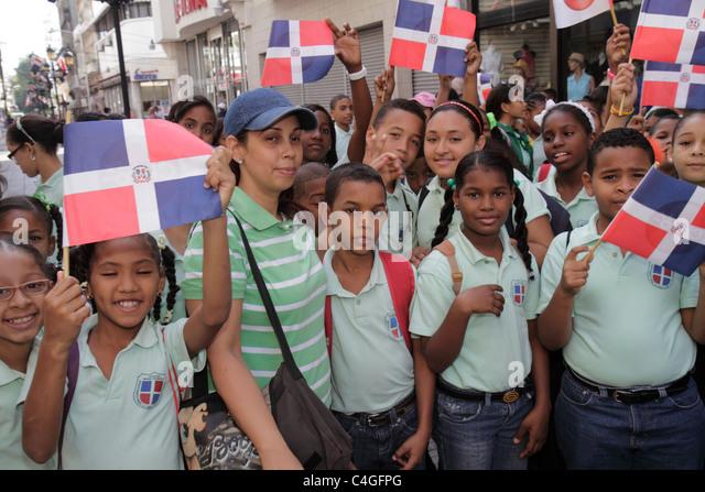 Santo Domingo Dominican Republic Ciudad Colonia Calle el Conde Peatonal Hispanic student boy girl woman teacher - Stock Image
