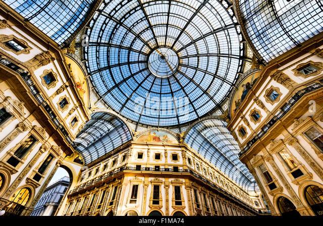 Glass dome of Galleria Vittorio Emanuele in Milan, Italy - Stock Image