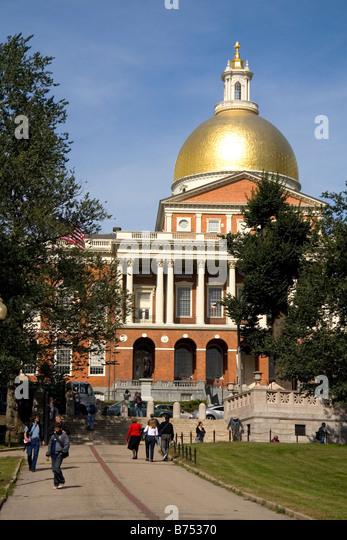 The Massachusetts State House located in the Beacon Hill neighborhood of Boston Massachusetts USA - Stock Image