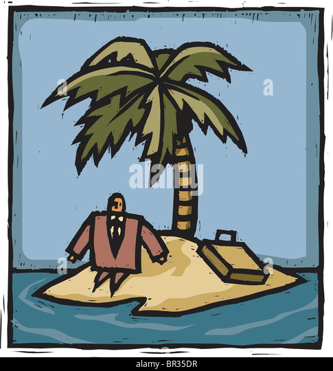 A businessman stranded on an island - Stock Image
