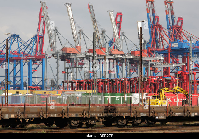 freight trains at terminal Burchardkai in Hamburg - Stock Image