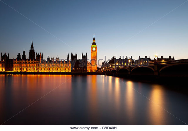 Parliament and Big Ben in London - Stock Image