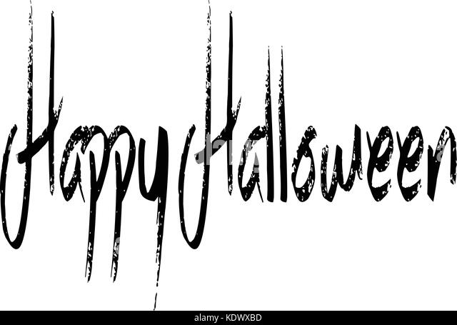 Illustration of Text message 'Happy Halloween' on white background. - Stock Image