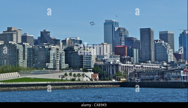 The skyline and waterfront of Seattle in Washington State of the USA - Stock Image
