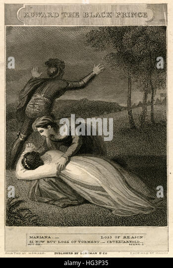 Antique c1820 engraving, scene from 'Edward the Black Prince; Or, The Battle of Poictiers; an Historical Tragedy, - Stock Image