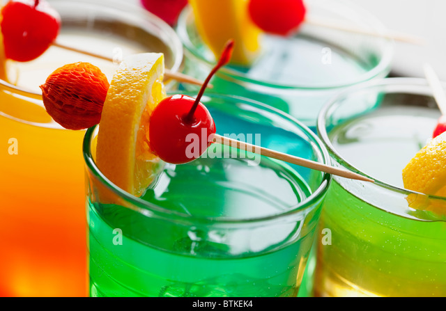 close up of colorful summer cocktail - Stock Image