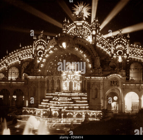 Palace of Electricity, Paris Exposition, France - 1900 - Stock Image
