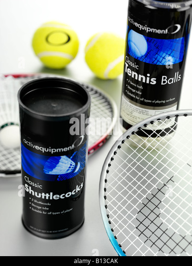 TENNIS AND BADMINTON EQUIPMENT - Stock Image