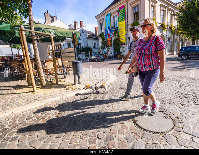 Couple walking dog in town centre, Chinon, France. - Stock Image