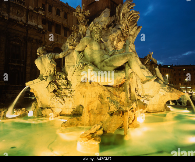 Rome Piazza Navona Four river fountain - Stock Image