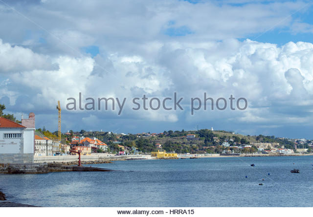 Coastal road from Cascais to Lisbon, Portugal. One of the most beautiful roads in Europe. - Stock Image