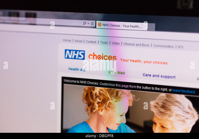 Photo Illustration of the NHS choices website online  service from the UK - Stock Image