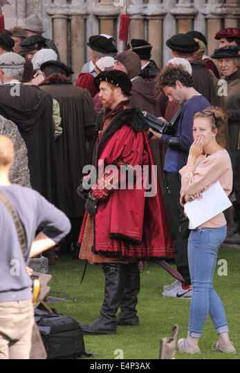 Wells, Somerset, UK. 15th July, 2014. The BBC are filming a new drama called 'Wolf Hall' based on the book - Stock Image