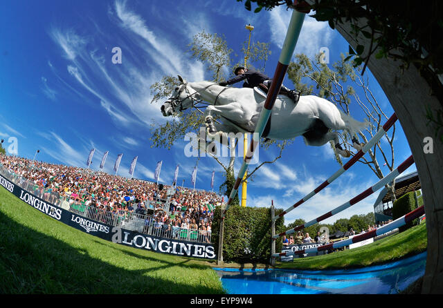 Hickstead, UK. 2nd Aug, 2015. The Longines Royal International Horse Show at Hickstead UK The Longines King George - Stock Image