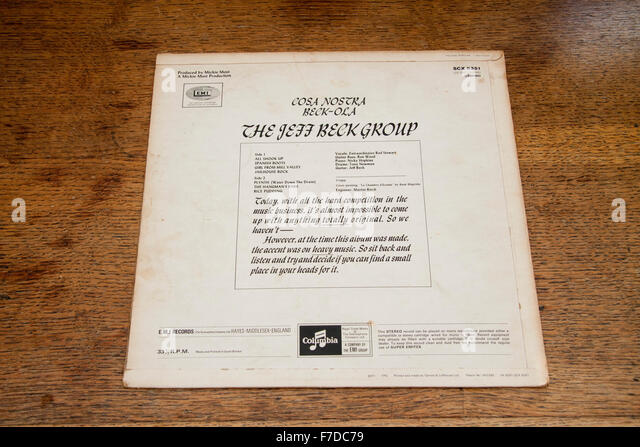 Rear cover of the Jeff Beck Group's 1969 album Beck-Ola - Stock Image